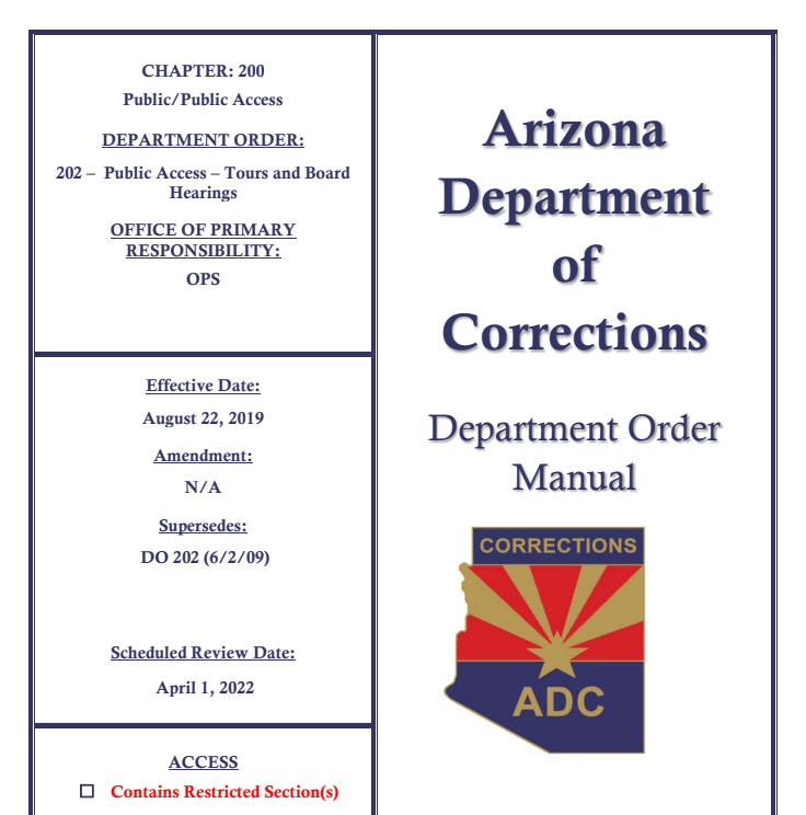 ADC Publishes, Rescinds New Policy On Prison Tours | KJZZ