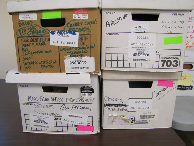 Boxes and documents for Dan Bolles case