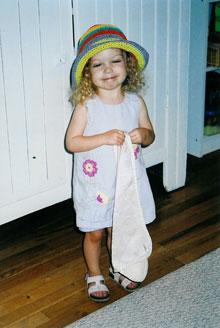 Annabelle wearing Easter/Passover Bonnet