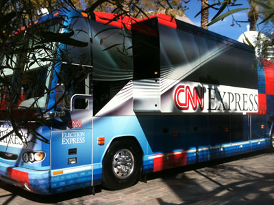 The CNN Election Express bus is parked outside the Mesa Arts Center, site of the GOP Presidential debate.