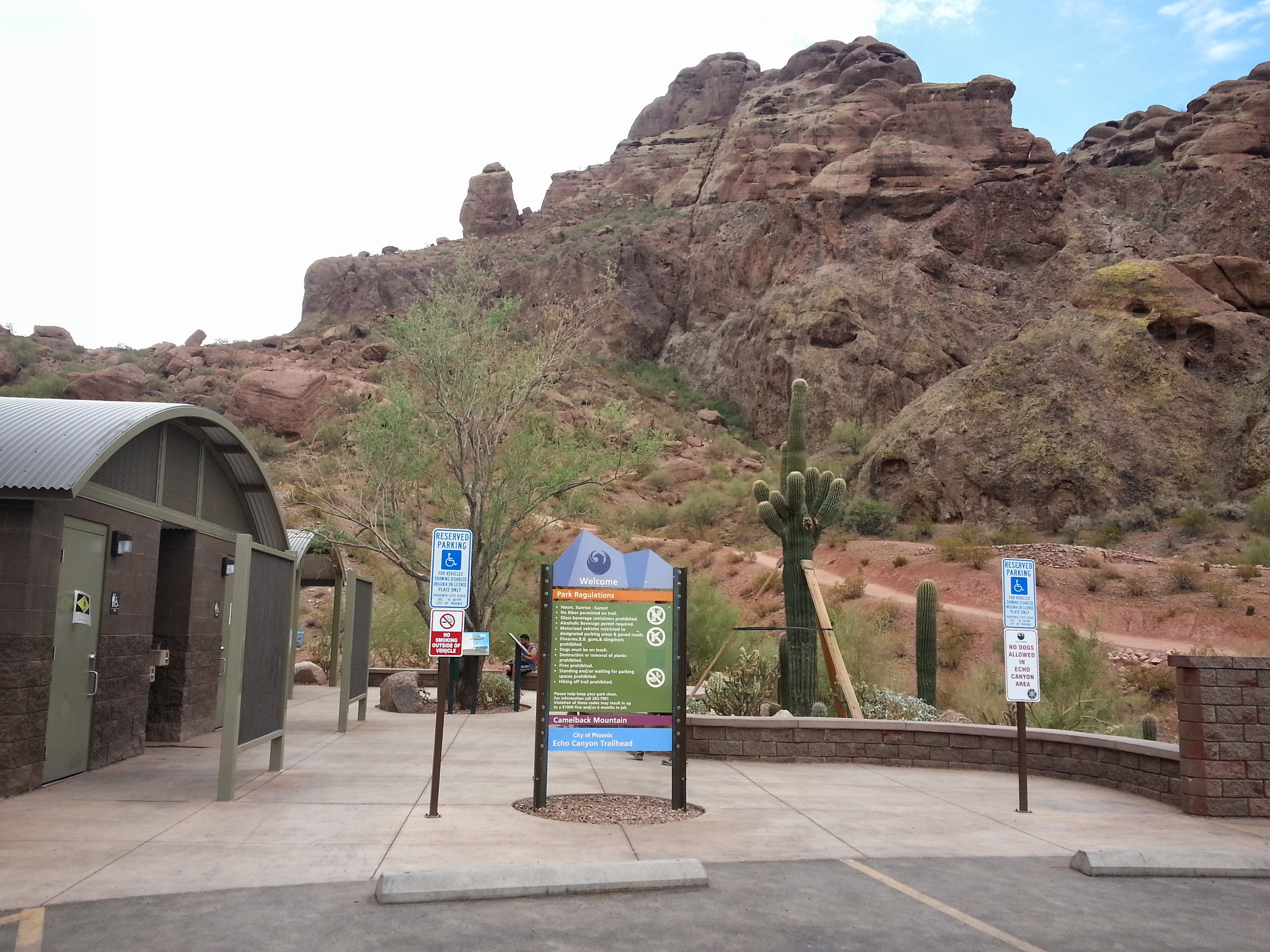 This is the Echo Canyon Trailhead entrance area at Camelback Mountain.