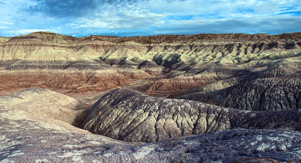 Badland exposures of the Triassic Chinle Formation.