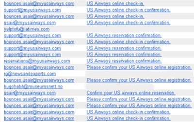 A number of bogus emails arrived in in-boxes claiming to be from US Airways.