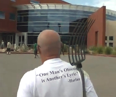 Mervin Fried outside the Mohave County Administration building where he was arrested.