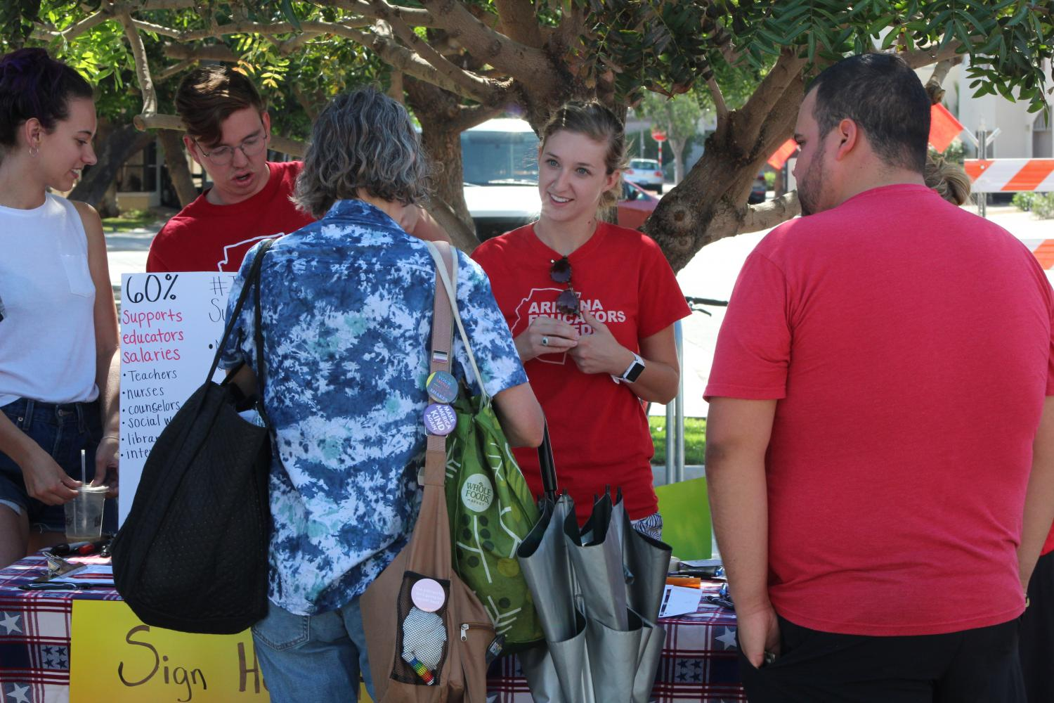 Teachers and advocates for more education funding set up booths across the Valley Saturday.  They were collecting signatures to get the Invest in Education Act on the ballot in November.