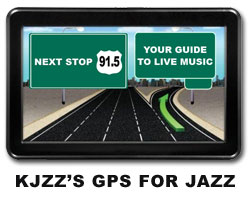 GPS device with image that reads: Next stop 91.5.  Your guide to live music.  KJZZ's GPS for Jazz