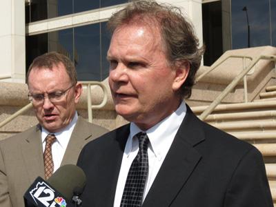 Attorney John Gleason speaks outside the Supreme Court.