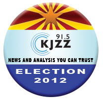 KJZZ 91.5 Election 2012 logo.  News and analysis you can trust.