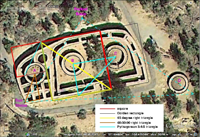 A plan view of Mesa Verde national Park's Sun Temple with geometric figures overlaid.