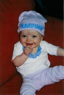 Sophie wearing Easter/Passover Bonnet