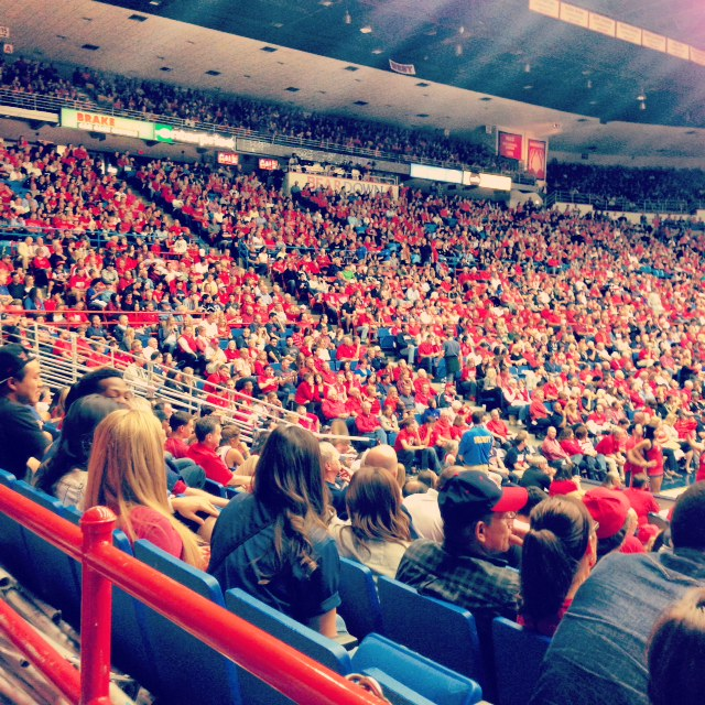 A packed crowd at the first basketball game of the 2013-2014 season in Tucson.
