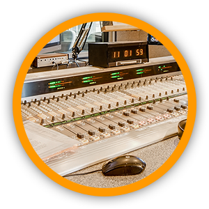 Console board with audio sliders