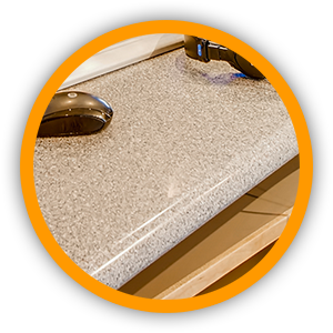 Gray countertop with rounded edges