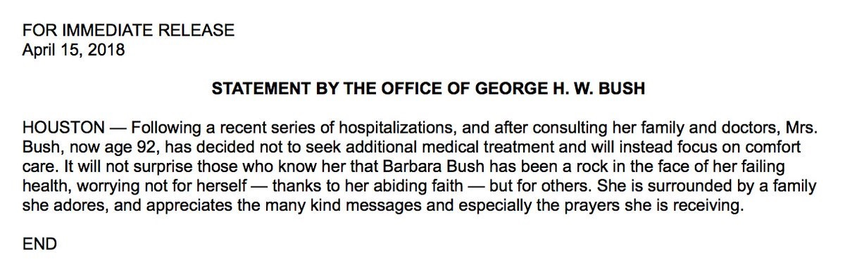 Statement from the office of George H.W. Bush as tweeted by NBC News Sunday morning.