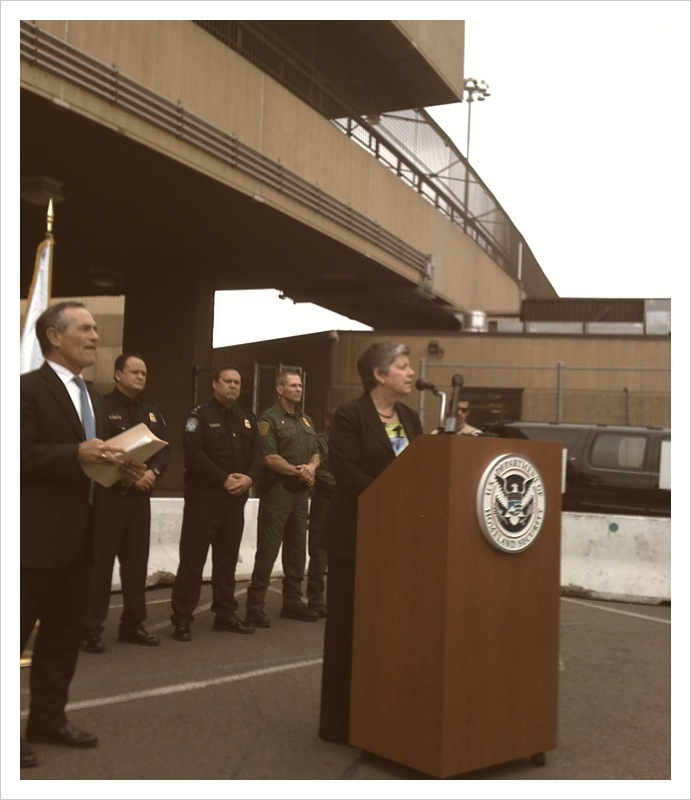 Homeland Security Secretary Janet Napolitano visits the San Ysidro Port of Entry for a tour and press conference.