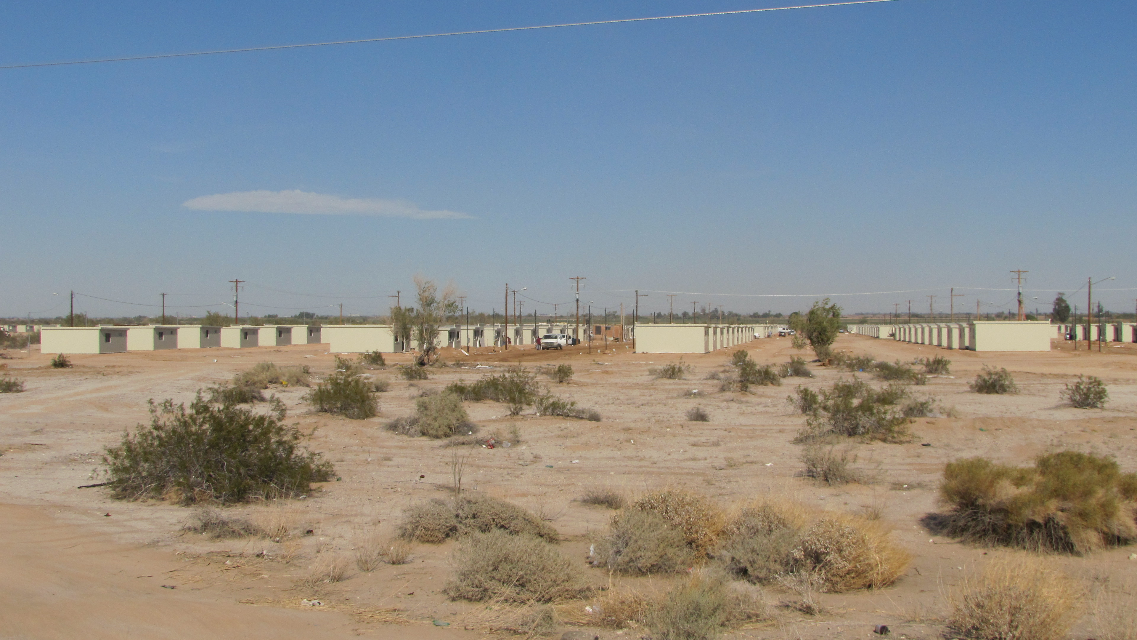 Government housing sits along the side of highway in Mexicali. Government officials say they've built 3,700 homes and have 300 more to go for people who lost their homes in the Easter earthquake on April 4, 2010.
