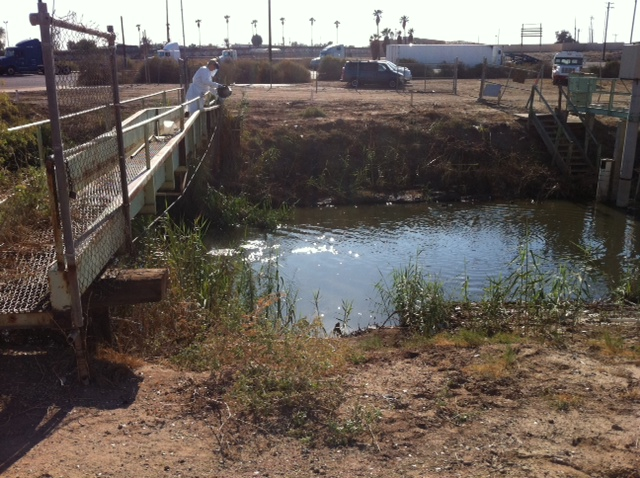 An Environmental Protection Agency water quality expert tests the water flowing from Mexicali into Calexico, at the New River.