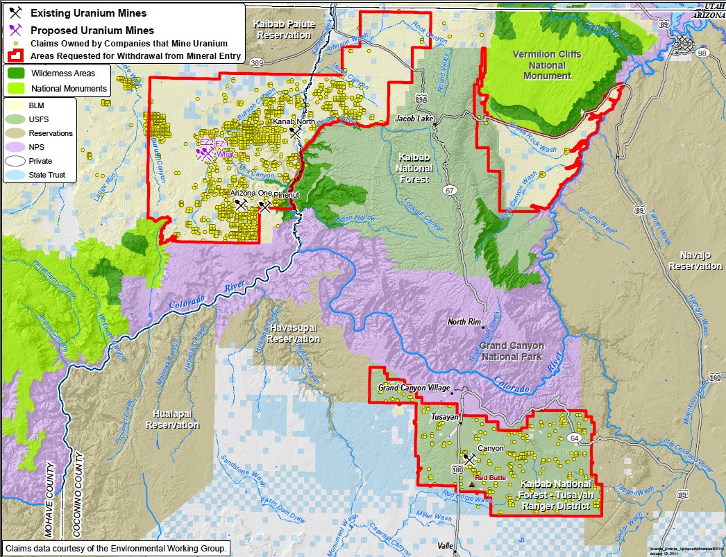 A map showing the location of uranium mining near the Grand Canyon.