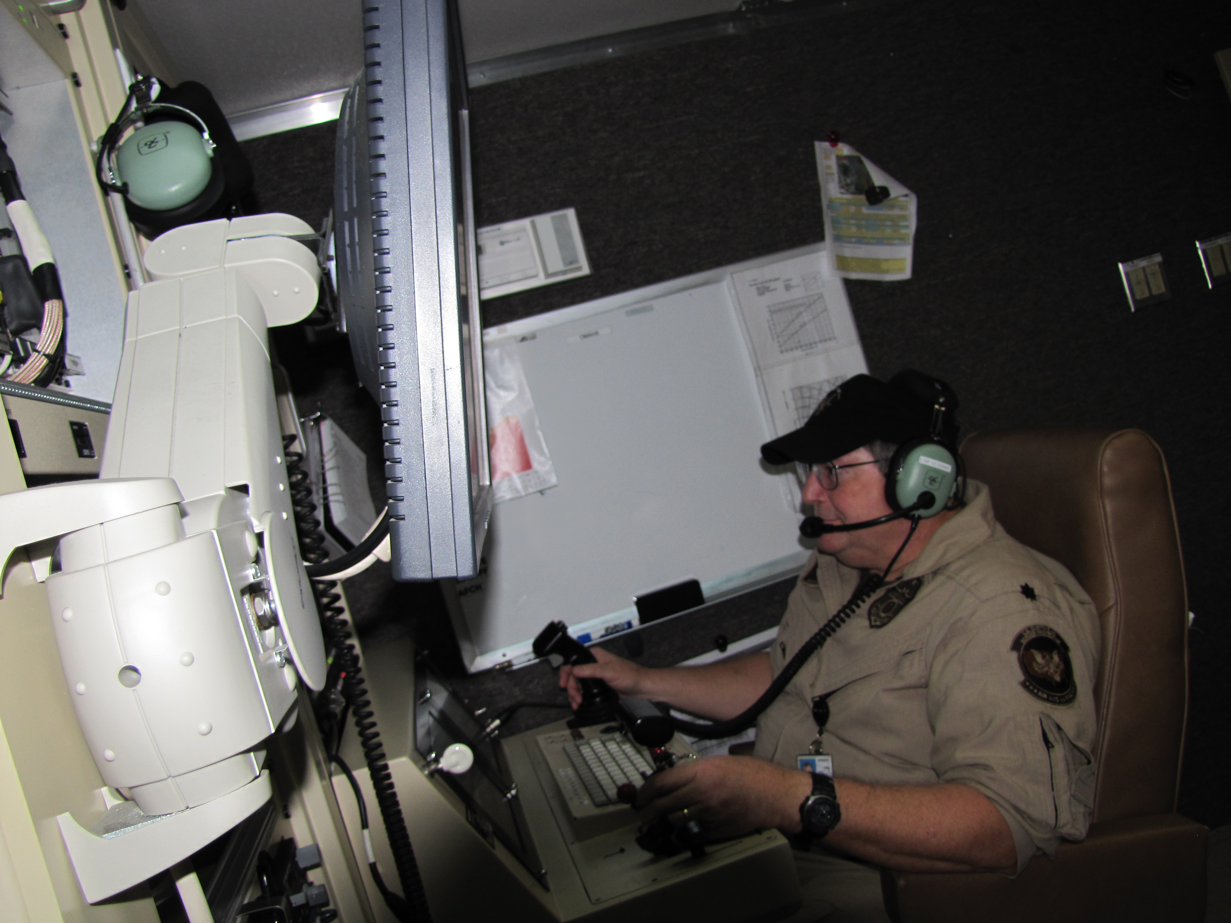 Drone pilot Tom Mason controls the drone on a recent border-securing mission.