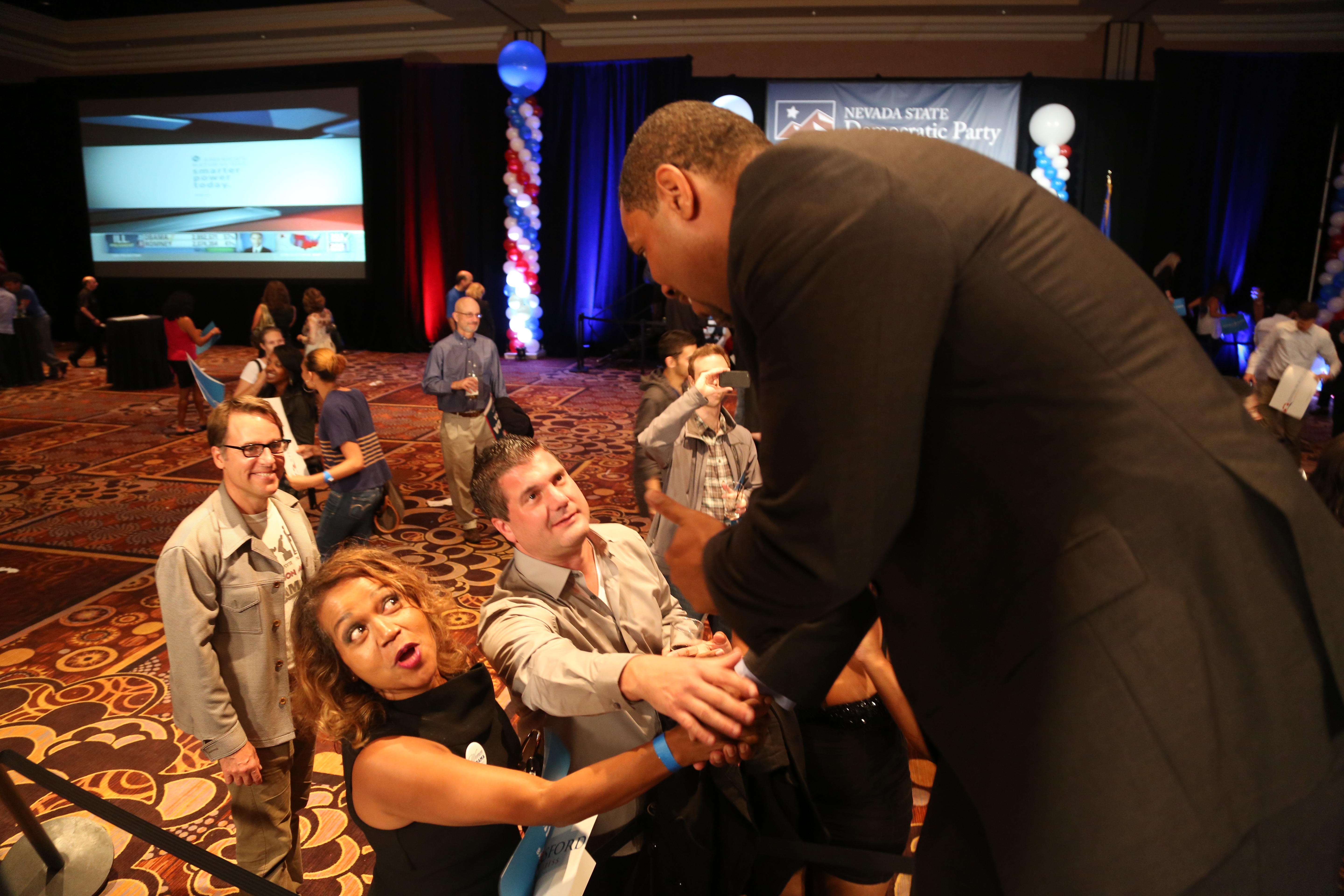 Congressman Steven Horsford, elected to represent Nevada's new 4th Congressional District in the U.S. House of Representatives, greets supporters at the Mandalay Bay in Las Vegas at the Election Day celebration.