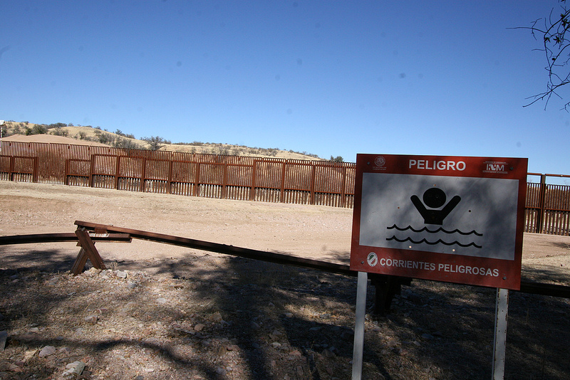 The new U.S.-Mexico border fence west of Nogales actually sits about 40 feet north of the physical boundary, creating a sort of no-man's land marked by low-slung vehicle barriers.