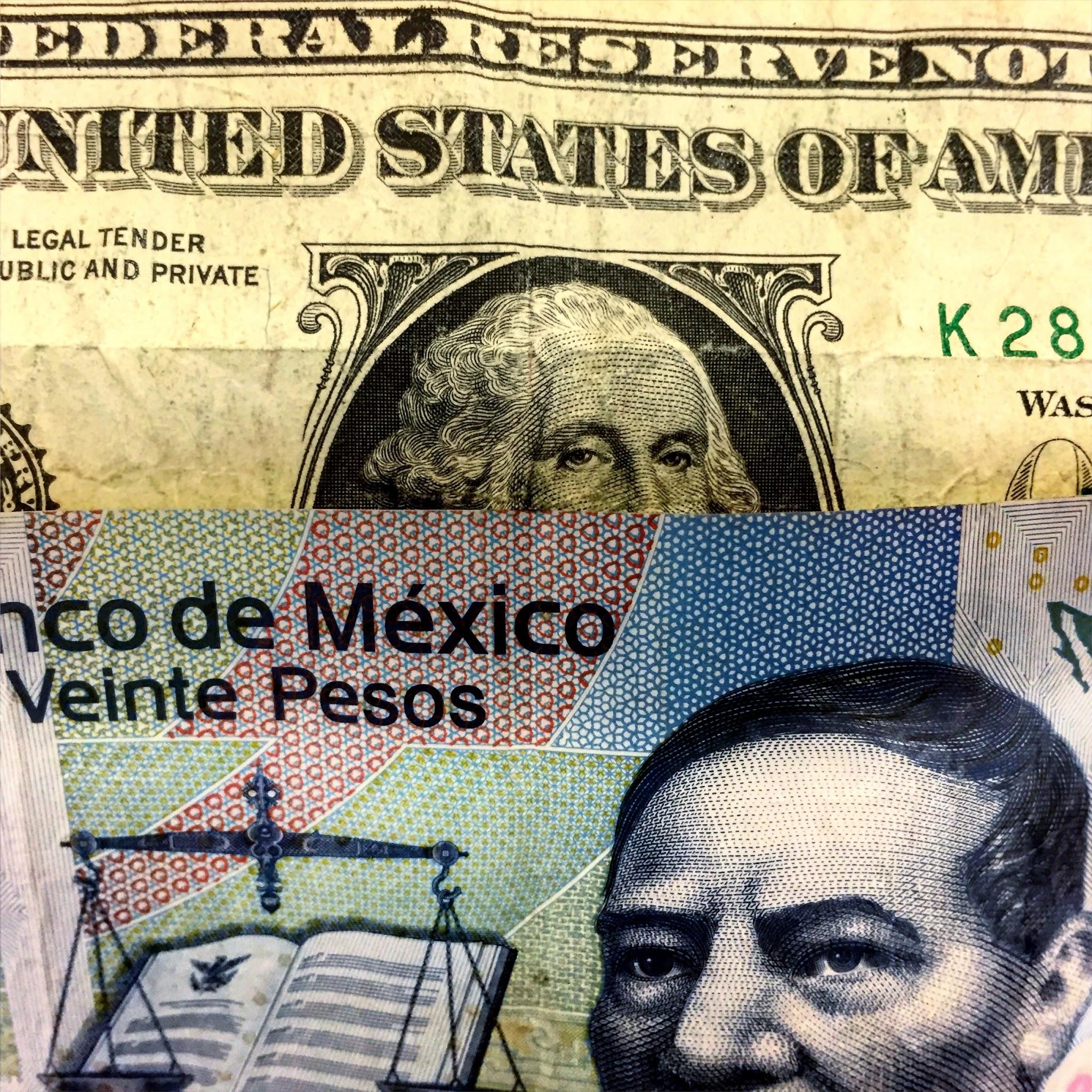 Photo: A $1 dollar bill and a $20 mexican peso bill