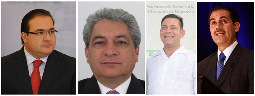 Former governors Javier Duarte of Veracruz, Tomas Yarrington of Tamaulipas, Eugenio Hernandez of Tamaulipas and Tomas Yarrington of Sonra.
