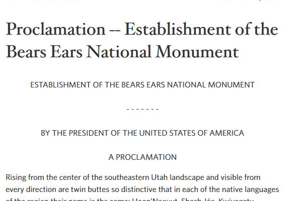 bears ears proclaimation