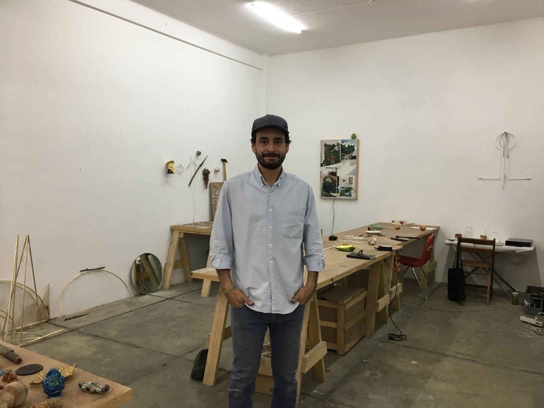 Gabriel Rico, a visual artist based in Guadalajara, in his studio