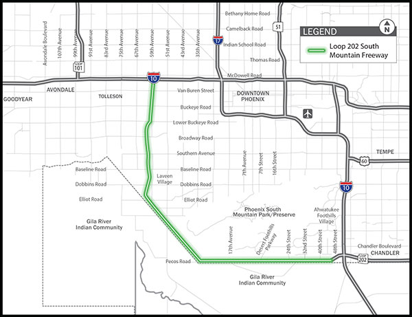 Map Of Loop 202 Arizona.Start Of South Mountain Freeway Construction Slated For September Kjzz