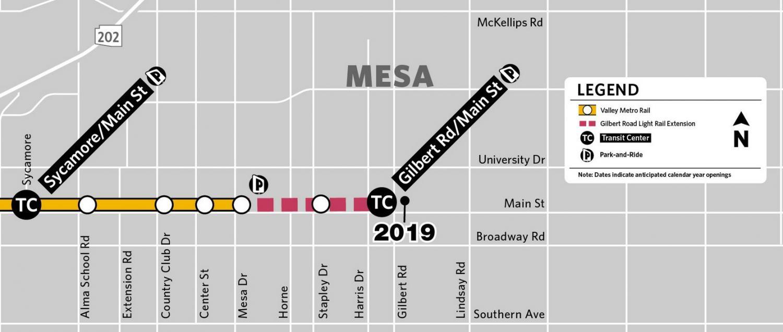 Mesa light rail extension to Gilbert Road