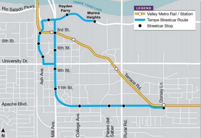 The Tempe Streetcar route