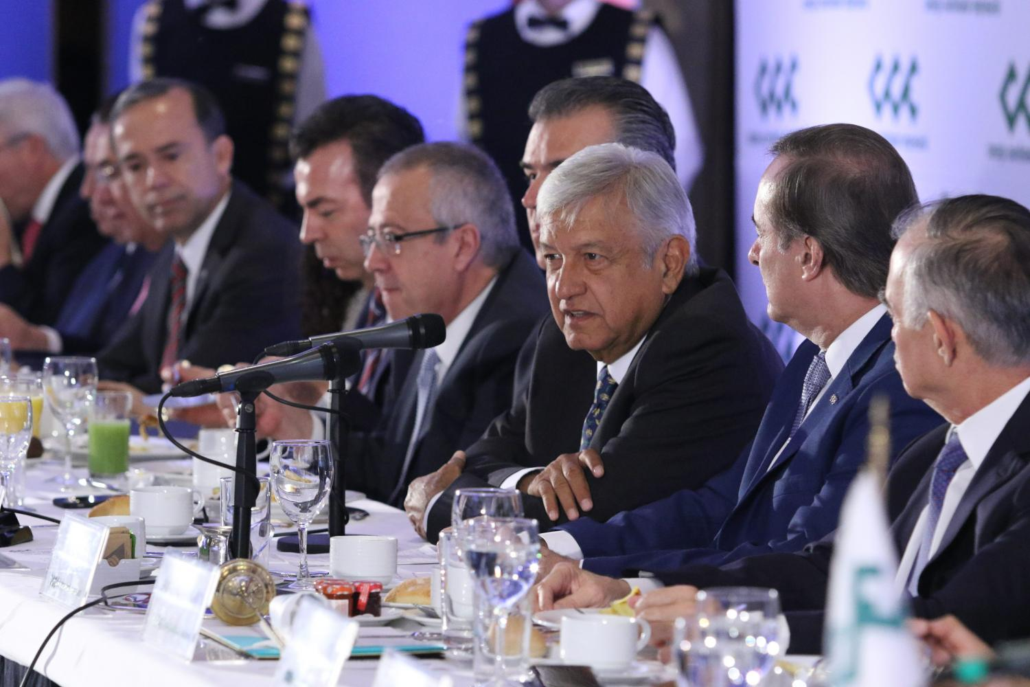 President-elect Andres Manuel Lopez Obrador with members from Mexican business groups