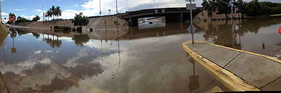 Flooded underpass at Greenway and I-17