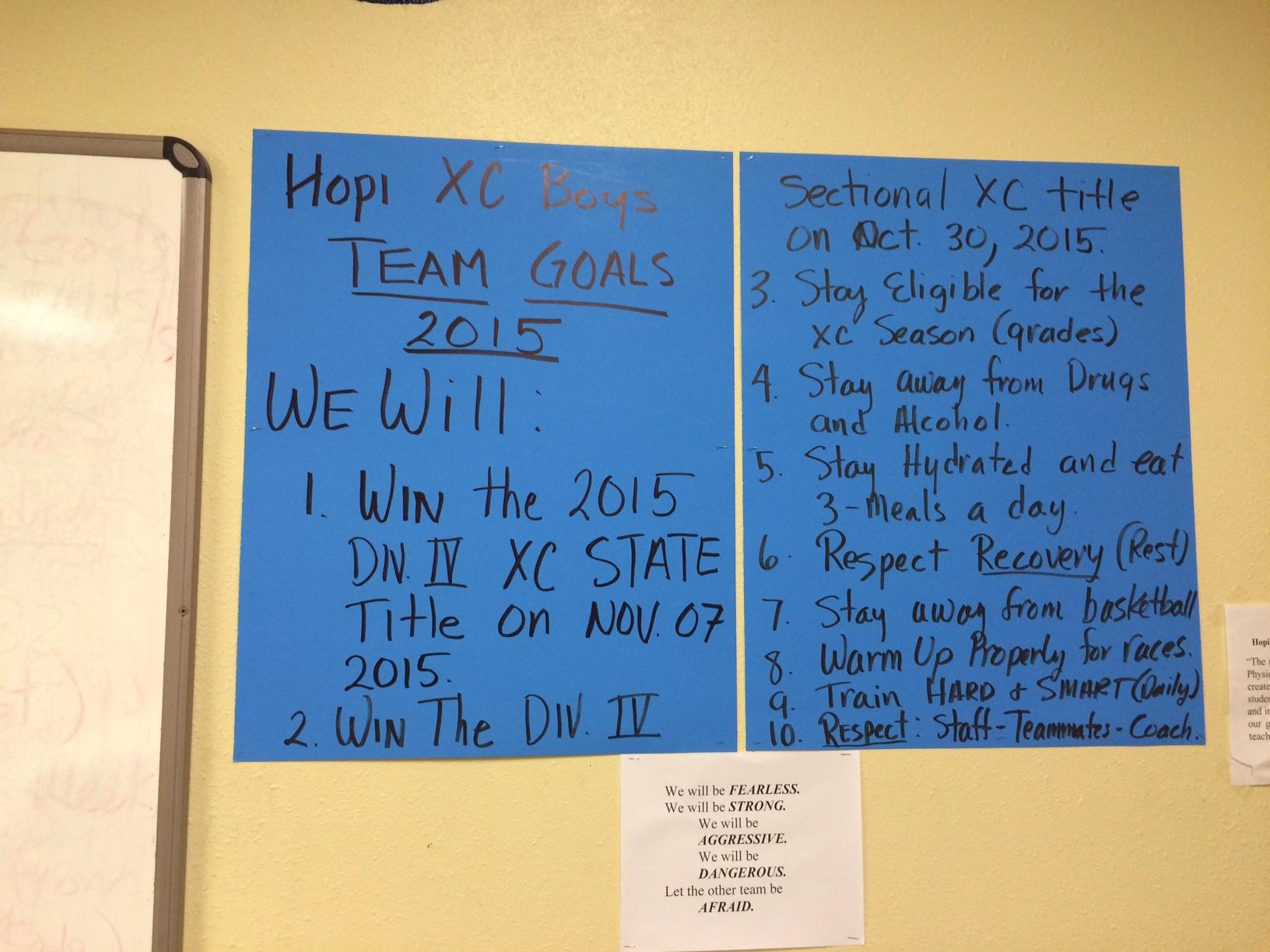 running goals for Hopi team