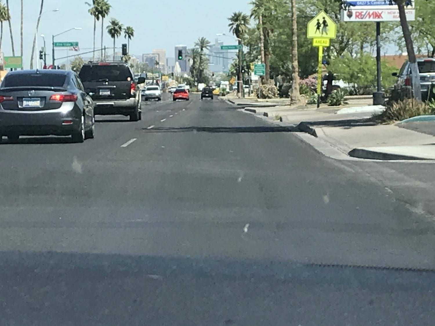 Central Avenue in south Phoenix, looking north