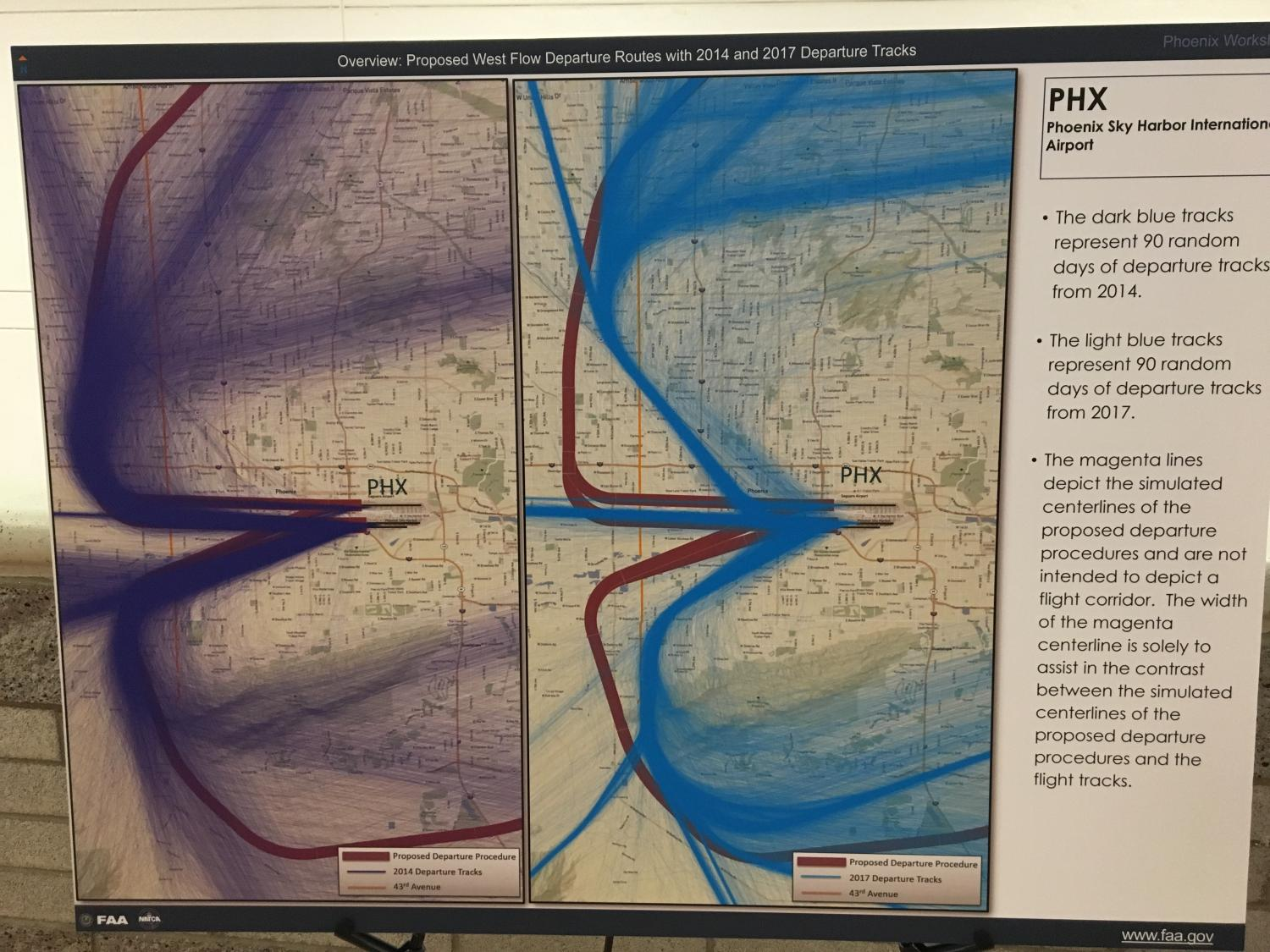 A side-by-side view of new (purple) flight paths and old (blue).
