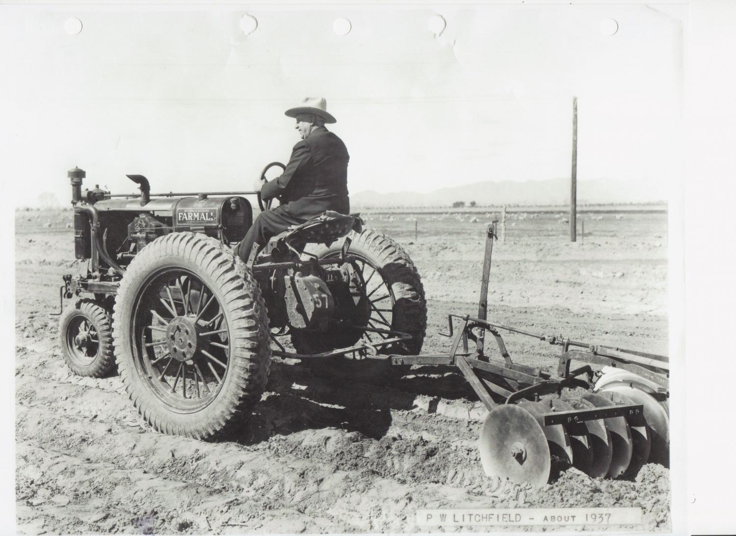 Paul Litchfield on a tractor