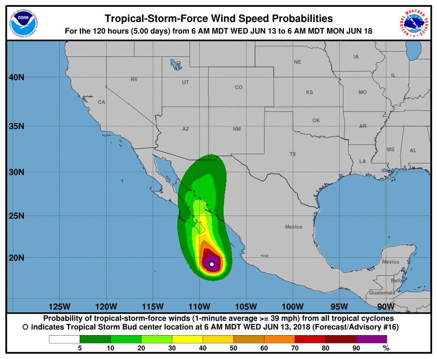Tropical Storm Bud windspeeds