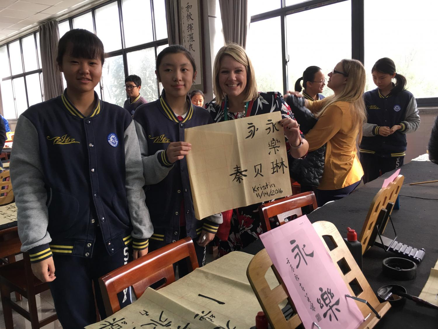 Kristin Kinghorn with students in China