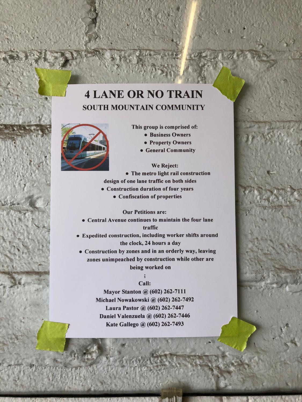"""""""4 Lane or No Train"""" campaign poster"""