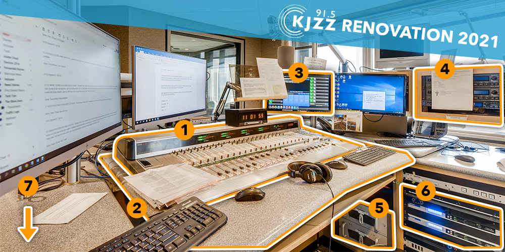 KJZZ main studio with pieces of equipment highlighted