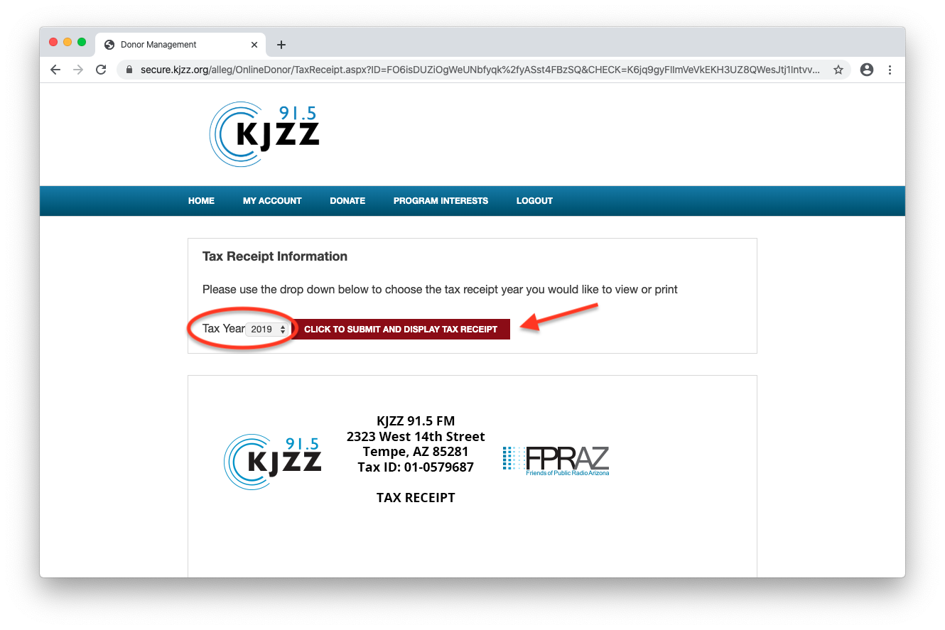 Printing your tax receipt on KJZZ's website