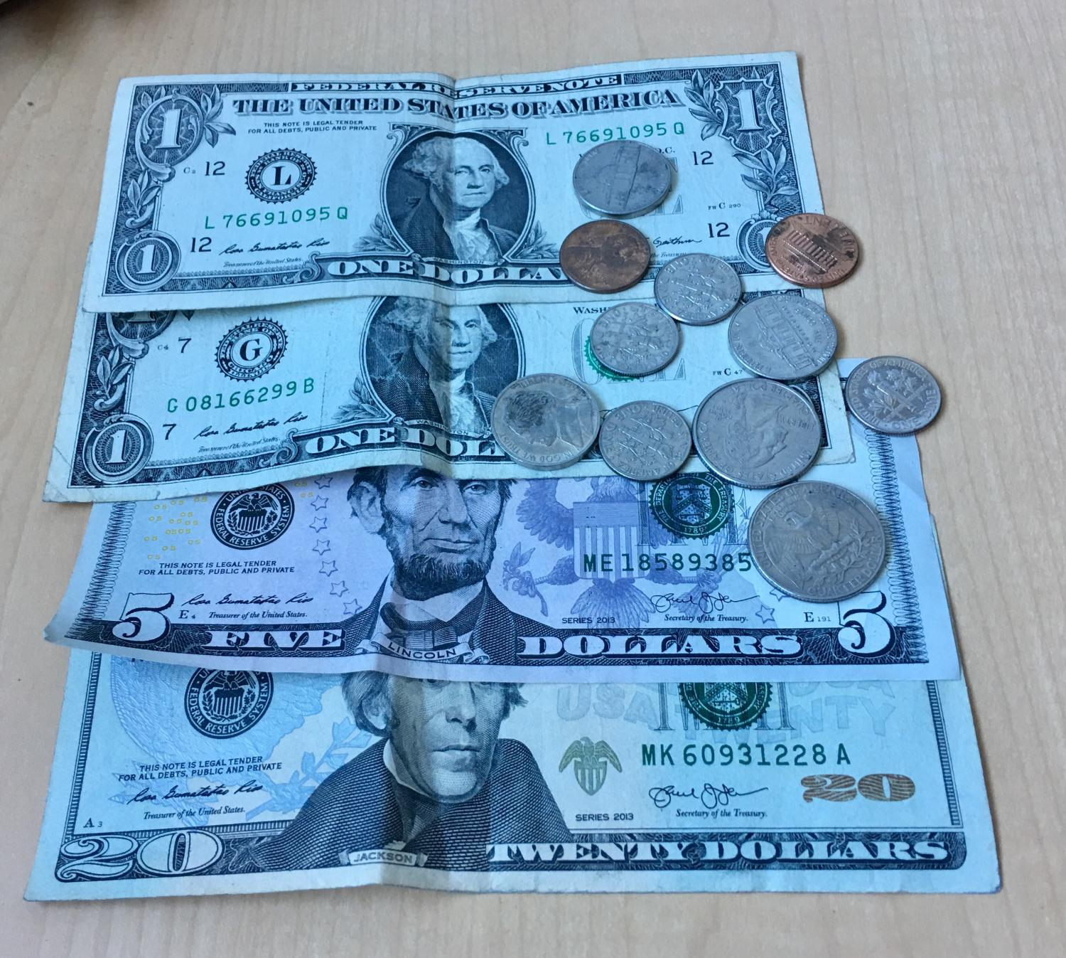 bills and coins on table