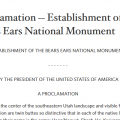 bears ears proclaimation