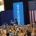 Michelle Obama takes the stage