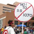 A sign opposing Arizona Senate Bill 1070