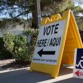 """""""Vote Here"""" sign"""