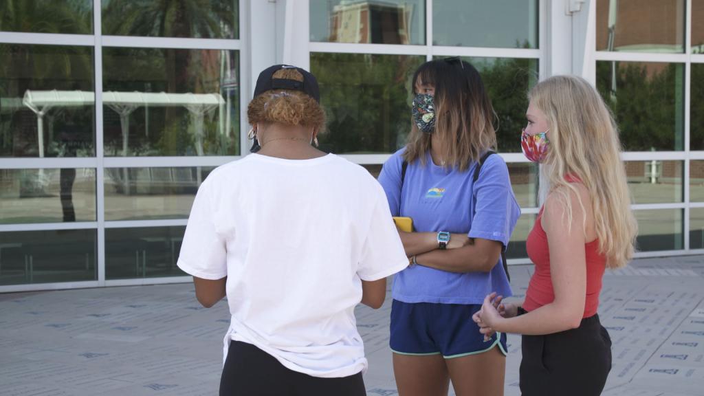 University of Arizona students wearing masks
