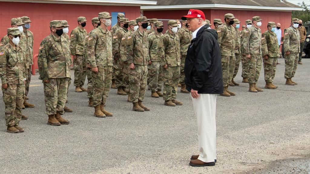 President Donald Trump visits approximately 200 National Guard troops